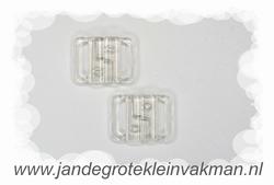 Bikini sluiting, transparant pvc, per twee, breedte 14mm