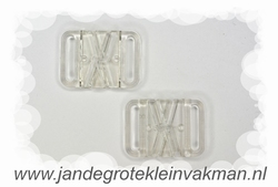 Bikini sluiting, transparant pvc, per twee, breedte 18mm
