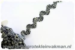 Grof geweven zigzagband, donkerblauw, 20mm breed