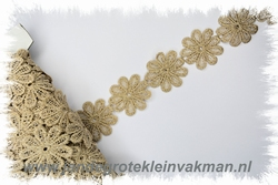 Sier band, margriet motief, goud lurex 38mm breed,