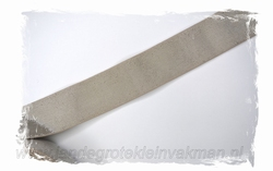 Glans elastiek zilver op taupe  , 40mm breed, per meter