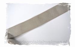 Glans elastiek zilver op taupe  , 40mm breed, per meter