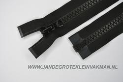 Deelbare rits, grove bloktand, 80cm, zwart