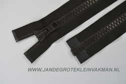 Deelbare rits, grove bloktand, 100cm, bruin