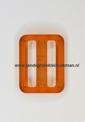 Gesp, kunststof, transparant oranje, 25mm