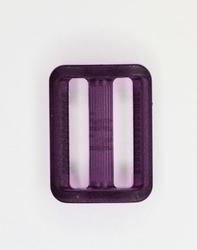 Gesp, kunststof, transparant paars, 25mm