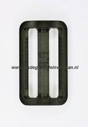 Gesp, kunststof, transparant zwart, 40mm