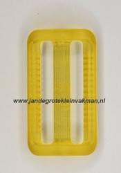 Gesp, kunststof, transparant geel, 30mm