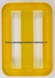 Gesp, kunststof, transparant geel, 40mm