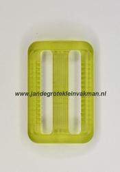 Gesp, kunststof, transparant groen, 30mm