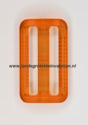 Gesp, kunststof, transparant oranje, 30mm