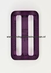 Gesp, kunststof, transparant paars, 30mm