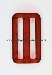 Gesp, kunststof, transparant rood, 30mm