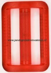 Gesp, kunststof, transparant rood, 40mm