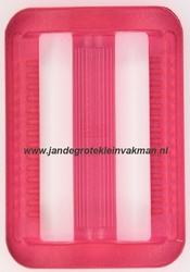 Gesp, kunststof, transparant roze, 40mm