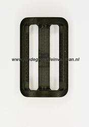 Gesp, kunststof, transparant zwart, 25mm
