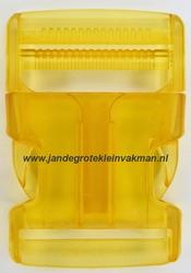 Insteekgesp, kunststof, 40mm, transparant geel