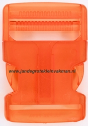 Insteekgesp, kunststof, 40mm, transparant oranje