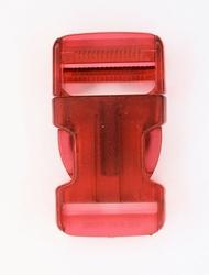 Insteekgesp, kunststof, 30mm, transparant rood