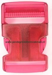 Insteekgesp, kunststof, 40mm, transparant roze