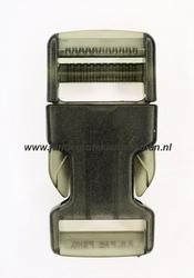 Insteekgesp, kunststof, 25mm, transparant zwart