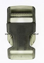 Insteekgesp, kunststof, 30mm, transparant zwart