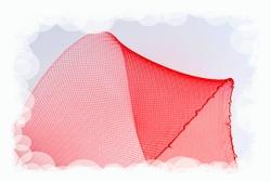 Crinolinestof, rood, circa 80mm breed, per meter