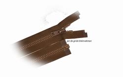 Rits deelbaar, bloktand, nylon, 45cm, kleur 568, chocaladebr
