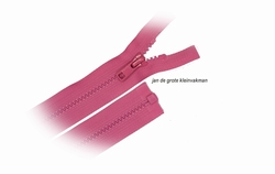 Rits deelbaar, bloktand, nylon, 50cm, kleur 515, rose