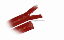 Rits deelbaar, bloktand, nylon, 60cm, kleur 519, rood