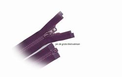 Rits deelbaar, bloktand, nylon, 60cm, kleur 526, paars