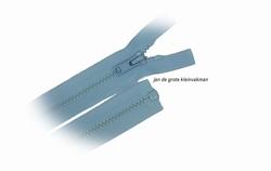 Rits deelbaar, bloktand, nylon, 70cm, kleur 542, babyblauw