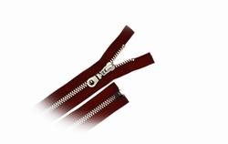 Deelbare rits, metalen tanden, 35cm, kleur donkerrood