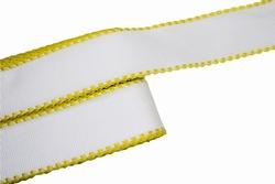 Aida band, wit geel, katoen, 50mm breed, per meter