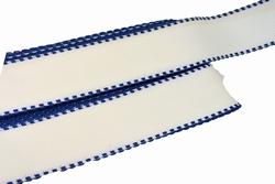 Aida band, wit blauw, katoen, 50mm breed, per meter