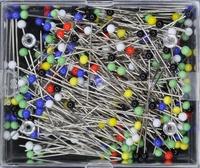Glaskop spelden 30mm (no.9), div. kleuren, 200 stuks