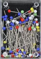 Glaskop spelden, no.9 (30mm), diverse frisse kleuren, 10 gr.