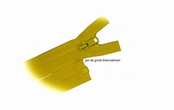 Rits deelbaar, bloktand, nylon, 30cm, kleur 504, geel