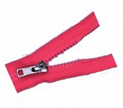 Rits deelbaar, bloktand, nylon, 30cm, kleur Fluorrrood