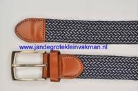 Herenriem elastisch 3cm breed, 100cm lang, donkerblauw
