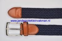 Herenriem elastisch 3cm breed, 110cm lang, donkerblauw