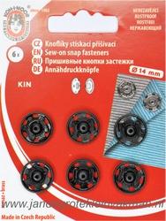 Naaidrukkers zwart 13.9mm, 6 stuks