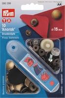 Prym inslaanbare drukknopen, brons, 10 stuks, 15mm