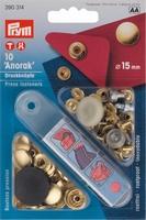Prym inslaanbare drukknopen, goudkleur, 10 stuks, 15mm