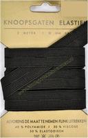 Elastiek, knoopsgaten, zwart, 18mm breed, kaart met 3 meter