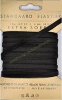 Elastiek, standaard, zwart, 6mm kaart met 10 meter