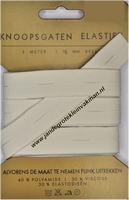 Elastiek, knoopsgaten, wit, 18mm, kaart met 3 meter