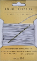 Elastiek, rond, wit, 1mm, kaart met 10 meter