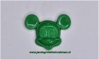 Kunststof knoopje groen ca.15mm Mickey Mouse