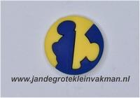 Kunststof knoop geel blauw ca.20mm  Mickey